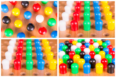 spiel: chinese checkers wooden on the white background Stock Photo