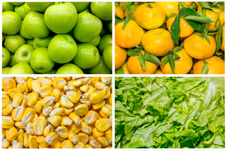 Food colage series. Collage of fresh fruit and vegetables photo