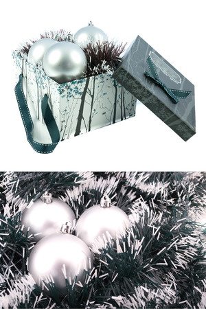 silver Christmas gift box with ornaments photo