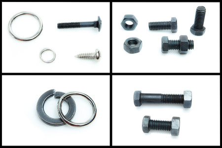 bolt and nut isolated on white background set photo