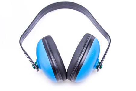 decibels: Protective ear muffs isolated on a white background