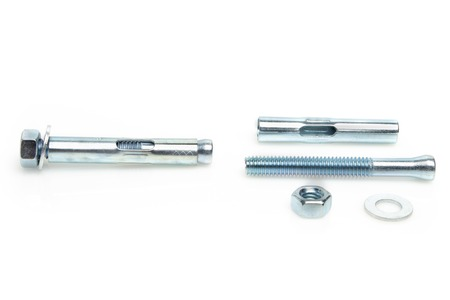 holdfast: Concrete expansion bolts for joining concrete slabs isolated on white