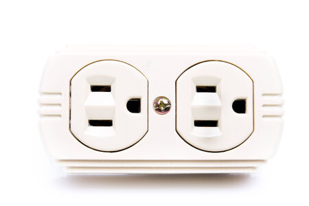 electric hole: U.S. electric household outlet isolated - Stock Photo