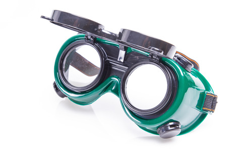 protecting spectacles: welded protective spectacles on white background isolated, close up Stock Photo