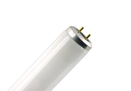 Fluorescent light tube. Isolated object. White background.