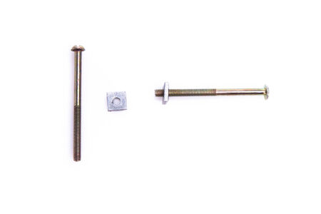 Set of small Metal bolts and screws isolated photo