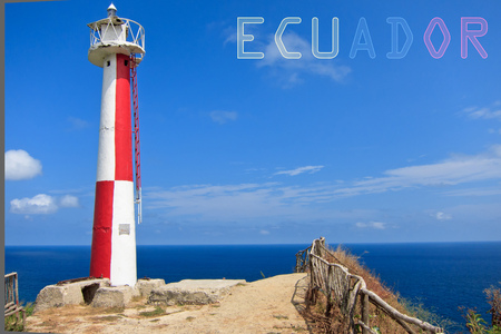 illuminative: Lighthouse with banner of Ecuador with colors of the flag Stock Photo