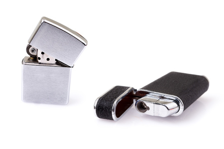 gas lighter: metal lighter on white background isolated
