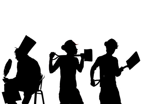 worker black silhouette in various poses photo