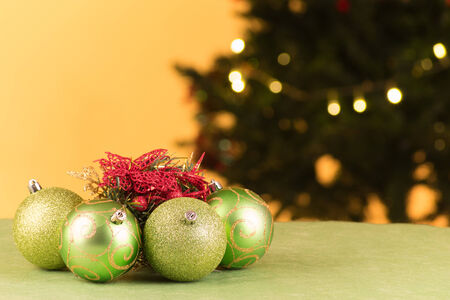 annually: Christmas tree decoration with ball lights Stock Photo