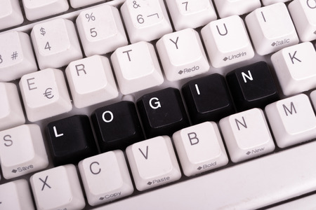 Word Login written with black keys on computer keyboard. photo