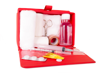 first aid kit on a white background Zdjęcie Seryjne