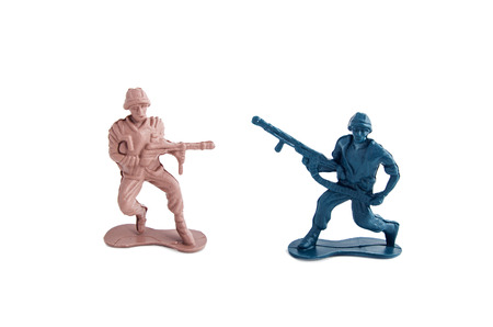 green military miniature: toy soldiers white background Stock Photo