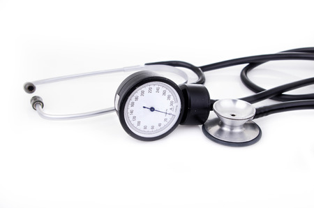 medical equipment: Medical equipment (stethoscope and sphygmomanometer) Stock Photo