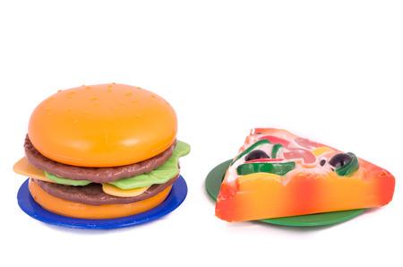 Plastic toy hamburger with bun photo