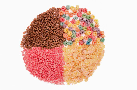 Food for a balanced diet in the form of circle. breakfast cereal photo