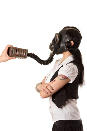 Girl in a gas mask. photo
