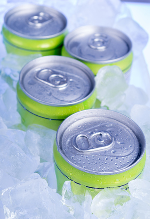 drink cans with crushed ice photo