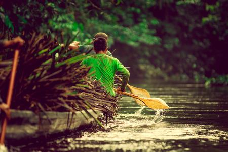 Canoës dans le Parc National Yasuni en Équateur, carring usine de paille