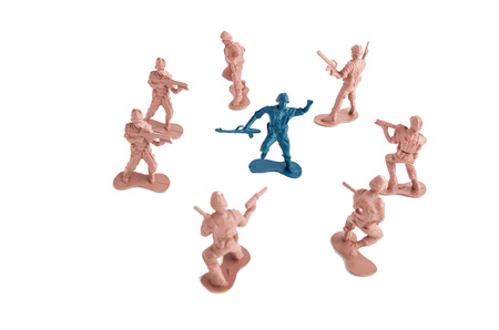 Plastic Toy Soldiers surrounding enemy photo