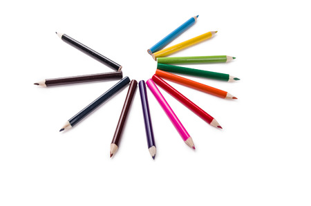 pencil colors on a white backgroiund photo