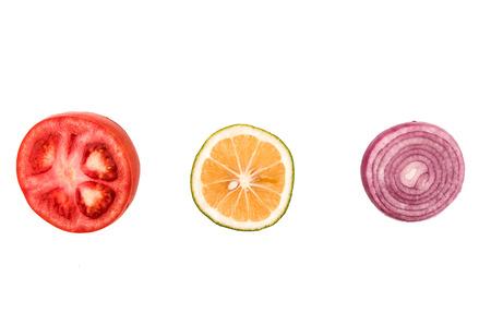 tomato lemon onion on a white background photo