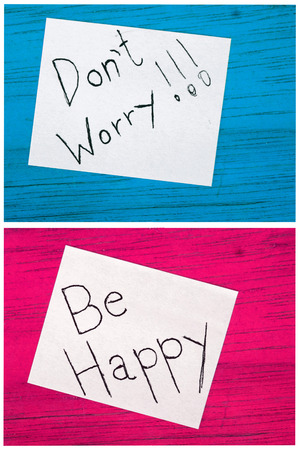 dont worry: post it notes, dont worry, be happy Stock Photo