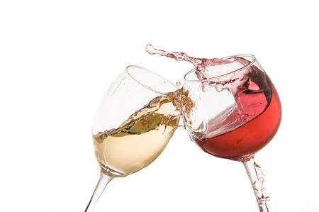 흰색 배경에 와인 유리 토스트 스톡 콘텐츠