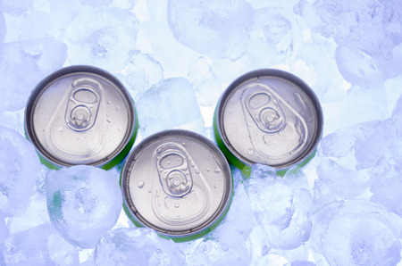 green Cans of Beer in Ice Cubes photo
