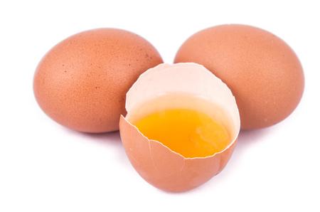 eggs on a white background with an open egg photo