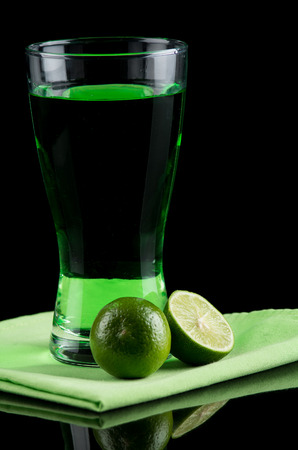 lemon drink on a dark background. photo
