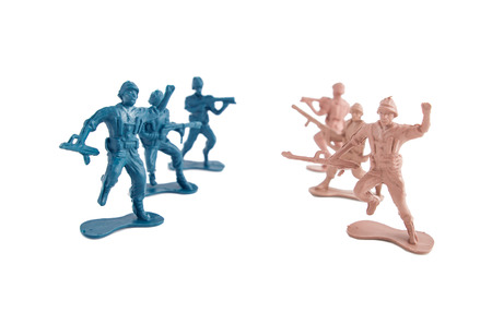 army man: toy soldiers white background Stock Photo