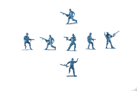 plastic soldier: toy soldiers white background Stock Photo