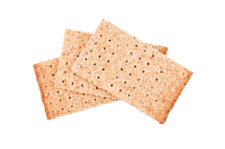 salt diet crackers on white background photo
