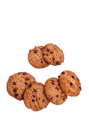 cikolatali: chocolate chip cookies on white Stock Photo