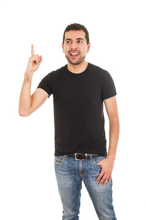 latin man pointing up with finger isolated on white photo