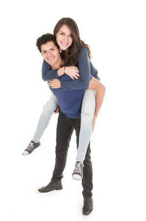 meant to be: cute couple hugging boy carrying girl on his back isolated on white Stock Photo