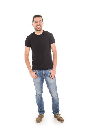 young man posing with hands in pockets isolated on white photo