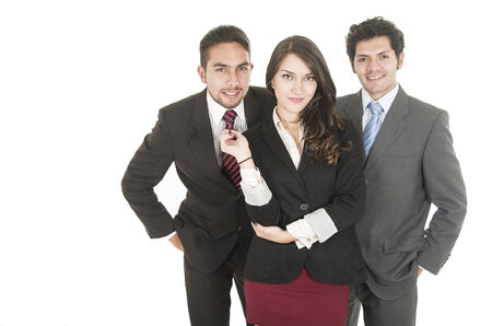 empowered: young business people woman holding man s tie concept of empowered woman isolated on white Stock Photo