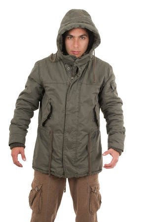 hispanic man wearing jacket and hoodie isolated on white