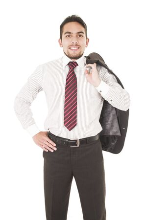 young confident businessman posing with hand on pocket isolated over white Stock Photo