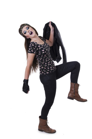 anarchism: Beautiful expressive hippie rocker girl marching dancing isolated on white Stock Photo