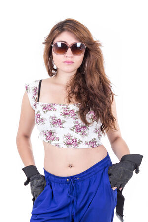 half length portrait of beautiful young girl wearing sunglasses isolated over white