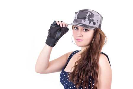 closeup beautiful sporty young girl wearing cap isolated over white Stock Photo