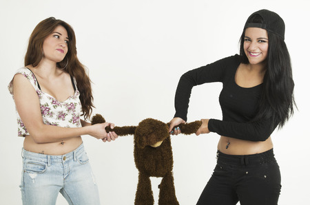 Two playful young girls pulling teddy bears arms isolated on white photo