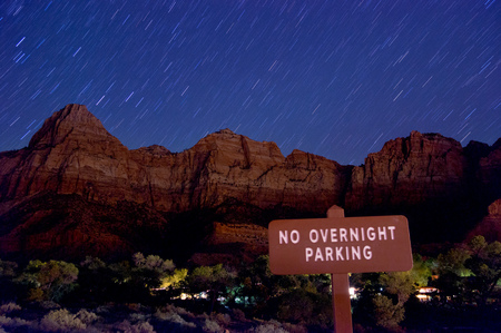 bautiful stars night scenery over zion national park photo