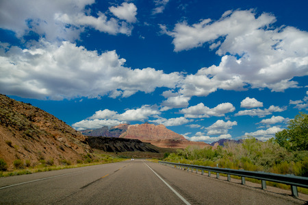 empty road in beautiful landscape zion national park utah photo