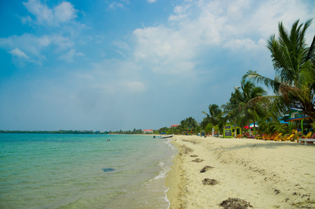 beautiful landscape of beach in placencia belize caribbean photo