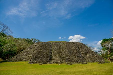 xunantunich maya site ruins in belize caribbean under blue sky photo