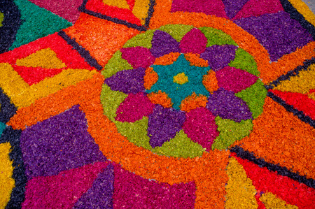 colorful handmade easter carpets made from colored sawdust fruits and flowers in antigua guatemala